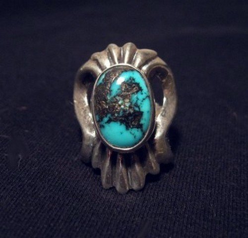 Image 1 of Orville Tsinnie Old Persian Turquoise Sandcast Silver Ring sz7