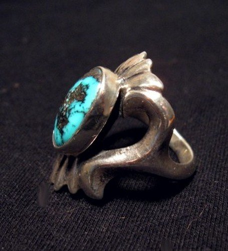 Image 2 of Orville Tsinnie Old Persian Turquoise Sandcast Silver Ring sz7