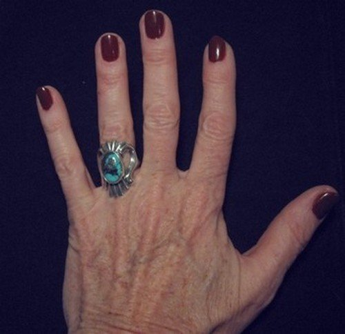 Image 3 of Orville Tsinnie Old Persian Turquoise Sandcast Silver Ring sz7