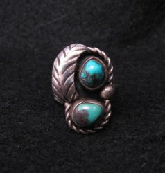 Vintage Navajo Double Turquoise Silver Ring sz5-3/4