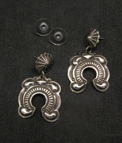 Image 0 of Native American Darryl Becenti Navajo Repousse Naja Sterling Silver Earrings