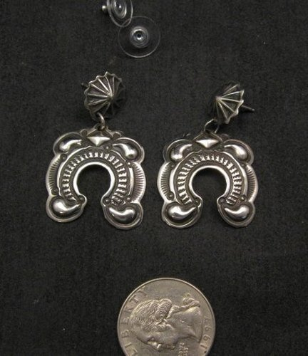 Image 2 of Native American Darryl Becenti Navajo Repousse Naja Sterling Silver Earrings