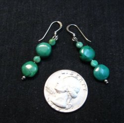 Navajo Kingman Turquoise Bead Earrings, Everett & Mary Teller