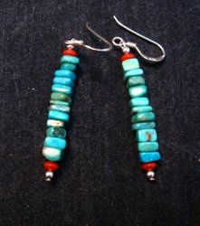 Navajo Kingman Turquoise and Coral Bead Earrings, Everett & Mary Teller