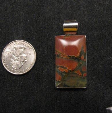 Image 1 of Navajo Native American Red Creek Jasper Pendant, Evangie Willie
