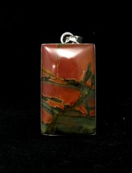 Navajo Native American Red Creek Jasper Pendant, Evangie Willie