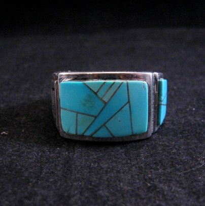 Image 0 of Navajo Turquoise Inlaid Sterling Silver Ring sz11-1/2, Calvin Begay