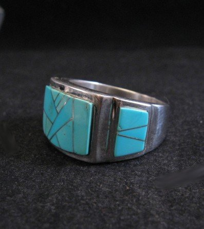Image 1 of Navajo Turquoise Inlaid Sterling Silver Ring sz11-1/2, Calvin Begay