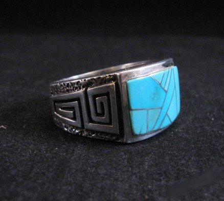 Image 3 of Navajo Turquoise Inlaid Sterling Silver Ring sz11-1/2, Calvin Begay