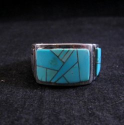 Navajo Turquoise Inlaid Sterling Silver Ring sz11-1/2, Calvin Begay