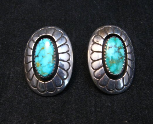 Image 0 of Vintage Navajo Turquoise Shadowbox Earrings Clip-on, Gene & Martha Jackson