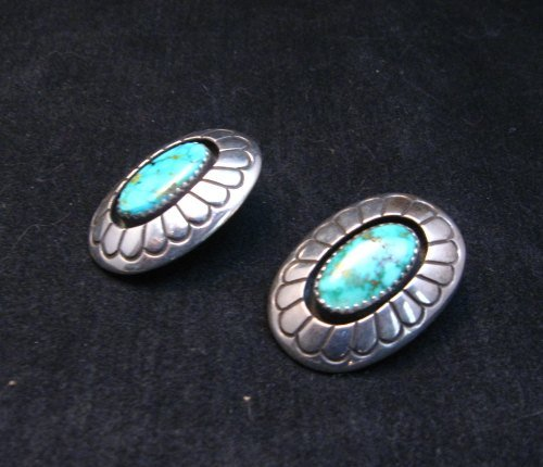 Image 1 of Vintage Navajo Turquoise Shadowbox Earrings Clip-on, Gene & Martha Jackson
