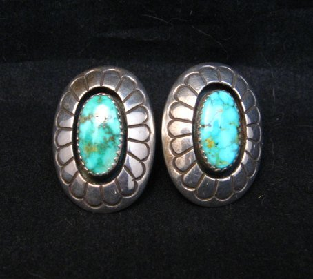 Image 2 of Vintage Navajo Turquoise Shadowbox Earrings Clip-on, Gene & Martha Jackson