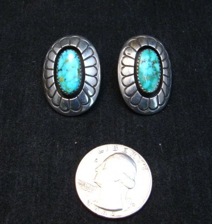 Image 5 of Vintage Navajo Turquoise Shadowbox Earrings Clip-on, Gene & Martha Jackson