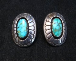 Vintage Navajo Turquoise Shadowbox Earrings Clip-on, Gene & Martha Jackson