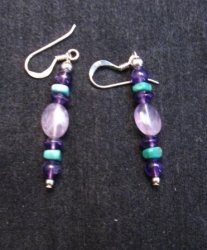 Navajo Purple Sugilite & Turquoise Bead Earrings, Everett & Mary Teller