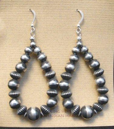 Image 1 of Long Navajo Native American Sterling Silver Bead Earrings