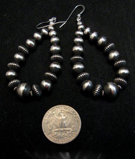 Image 0 of Long Navajo Native American Sterling Silver Bead Earrings