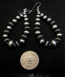 Long Navajo Native American Sterling Silver Bead Earrings