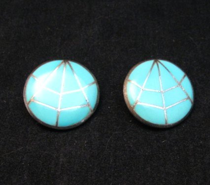 Image 1 of Vintage Native American Round Turquoise Inlay Earrings, Clip-on