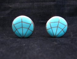 Vintage Native American Round Turquoise Inlay Earrings, Clip-on