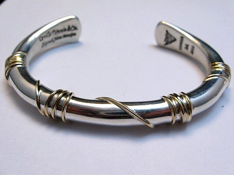 Image 0 of Navajo Orville Tsinnie & Co. 14K Gold Sterling Silver Wrap Wire Bracelet, Large