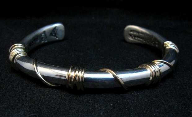 Image 8 of Navajo Orville Tsinnie & Co. 14K Gold Sterling Silver Wrap Wire Bracelet, Large