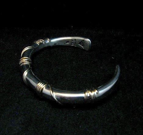 Image 4 of Navajo Orville Tsinnie & Co. 14K Gold Sterling Silver Wrap Wire Bracelet, Large