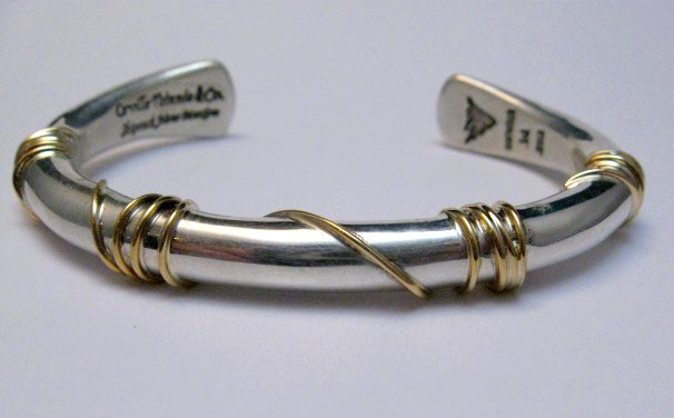 Image 2 of Navajo Orville Tsinnie & Co. 14K Gold Sterling Silver Wrap Wire Bracelet, Large