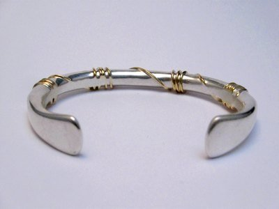Image 6 of Navajo Orville Tsinnie & Co. 14K Gold Sterling Silver Wrap Wire Bracelet, Large