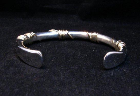 Image 7 of Navajo Orville Tsinnie & Co. 14K Gold Sterling Silver Wrap Wire Bracelet, Large