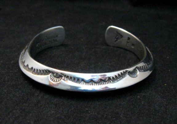 Image 0 of Navajo Orville Tsinnie Stamped Silver Triangle Cuff Bracelet, Small