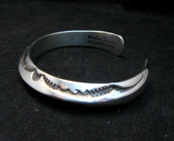 Image 1 of Navajo Orville Tsinnie Stamped Silver Triangle Cuff Bracelet, Small