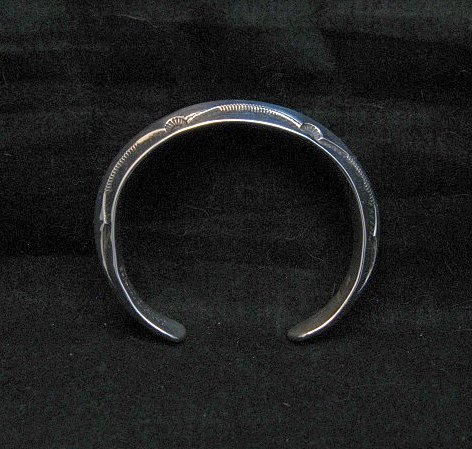 Image 2 of Navajo Orville Tsinnie Stamped Silver Triangle Cuff Bracelet, Small