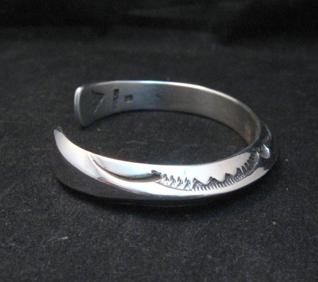 Image 3 of Navajo Orville Tsinnie Stamped Silver Triangle Cuff Bracelet, Small