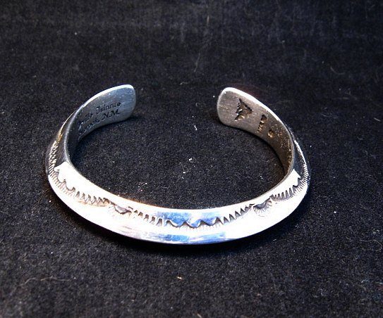 Image 5 of Navajo Orville Tsinnie Stamped Silver Triangle Cuff Bracelet, Small