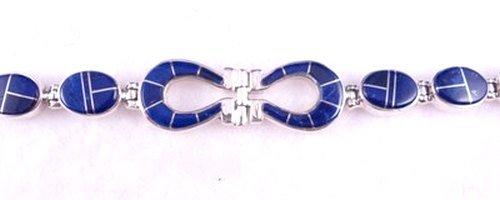 Image 0 of Navajo Lapis Inlaid Horseshoe Link Bracelet, Calvin Begay