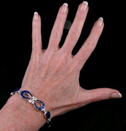 Image 2 of Navajo Lapis Inlaid Horseshoe Link Bracelet, Calvin Begay
