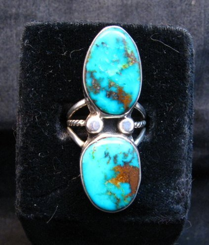 Image 2 of Navajo Orville Tsinnie & Co. Double Turquoise Sterling Silver Ring sz8