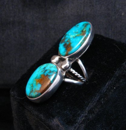 Image 1 of Navajo Orville Tsinnie & Co. Double Turquoise Sterling Silver Ring sz8
