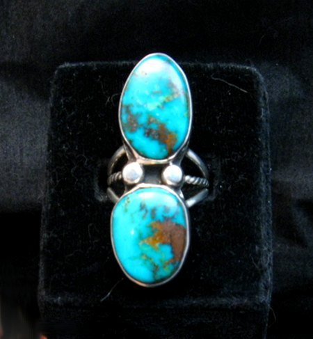 Image 3 of Navajo Orville Tsinnie & Co. Double Turquoise Sterling Silver Ring sz8