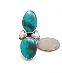 Navajo Orville Tsinnie & Co. Double Turquoise Sterling Silver Ring sz8