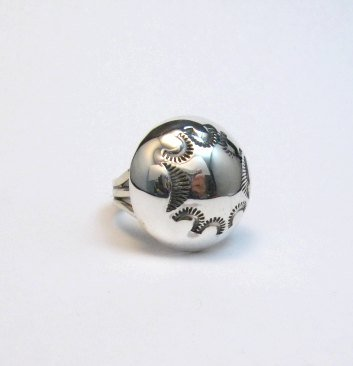Image 0 of Navajo Orville Tsinnie & Co. Stamped Sterling Silver Dome Ring sz7
