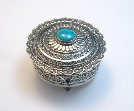 Image 0 of Sunshine Reeves Sterling Silver Box w/Lid, Kingman Turquoise, Navajo Handmade