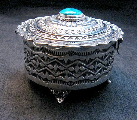 Image 9 of Sunshine Reeves Sterling Silver Box w/Lid, Kingman Turquoise, Navajo Handmade