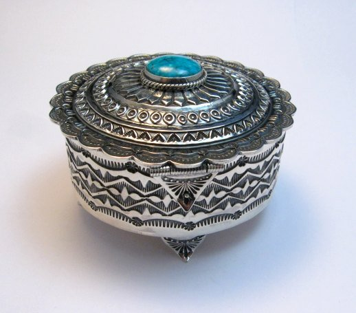 Image 10 of Sunshine Reeves Sterling Silver Box w/Lid, Kingman Turquoise, Navajo Handmade