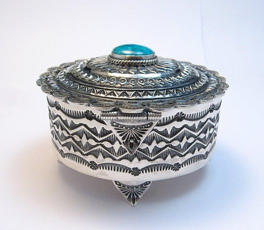 Image 1 of Sunshine Reeves Sterling Silver Box w/Lid, Kingman Turquoise, Navajo Handmade