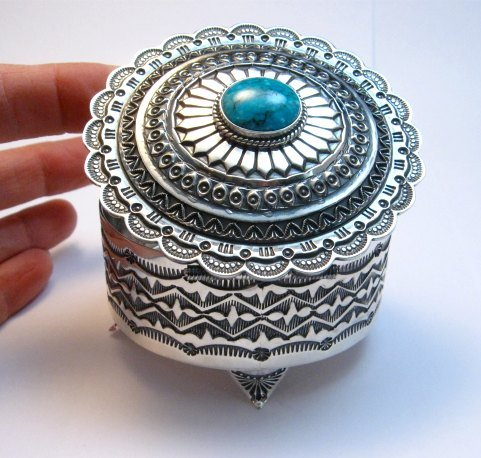 Image 2 of Sunshine Reeves Sterling Silver Box w/Lid, Kingman Turquoise, Navajo Handmade