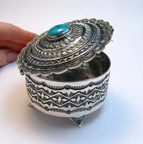 Image 3 of Sunshine Reeves Sterling Silver Box w/Lid, Kingman Turquoise, Navajo Handmade