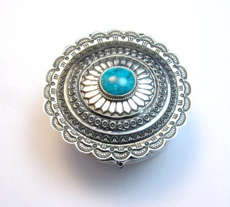 Image 4 of Sunshine Reeves Sterling Silver Box w/Lid, Kingman Turquoise, Navajo Handmade